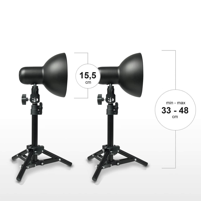 esmart germany 2 x stativ fotolampen set inklusive 35w tagwei leuchtmittel ebay. Black Bedroom Furniture Sets. Home Design Ideas