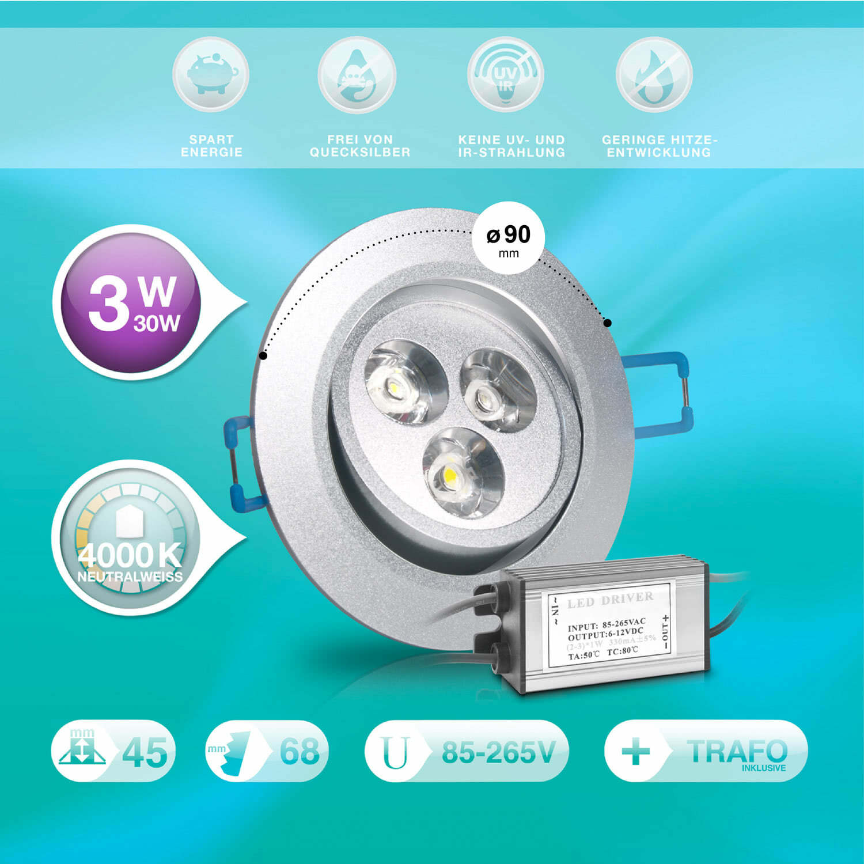 esmart germany high power led 3w 6w 9w inkl trafo einbau spot einbau lampe smd ebay. Black Bedroom Furniture Sets. Home Design Ideas